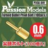 1/35 0.6mm Turned Bullet Proof Bolt (100 pcs)